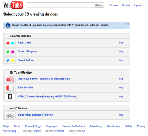 YouTube 3D Vewing