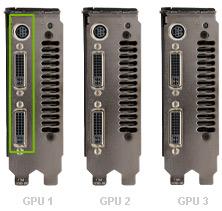 Quad SLIR On NVIDIAR GeForceR 9800 GX2 GPUs Plug Two Monitors Into The 2 DVI Connectors Bracket With Blue LED