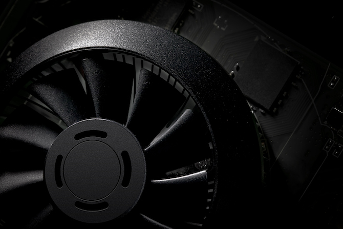 Fan detail on the GeForce GTX 750 graphics card